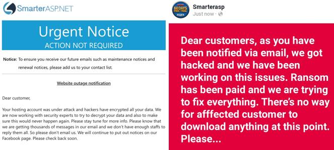 """Uno de los mensajes que lanzó la empresa fue, """"Su cuenta de alojamiento estaba bajo ataque y los hackers han encriptado todos sus datos"""","""