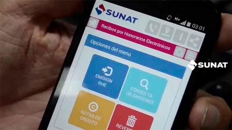la SUNAT brinda la facilidad de poder emitir el Recibo por Honorarios Electrónico desde el App SUNAT